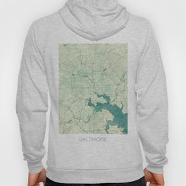 Baltimore Map Blue Vintage Hoody