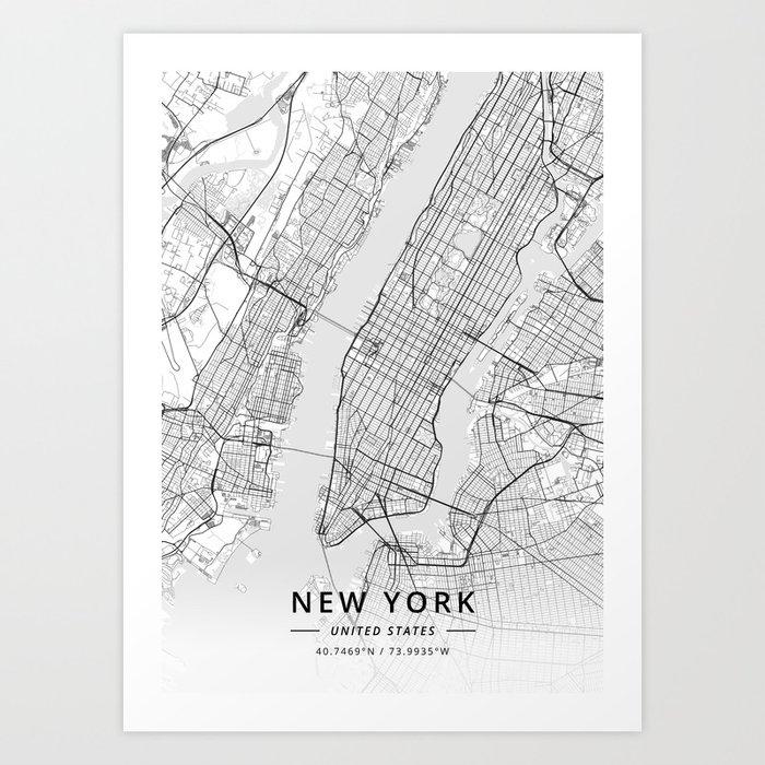 New York, United States - Light Map Kunstdrucke