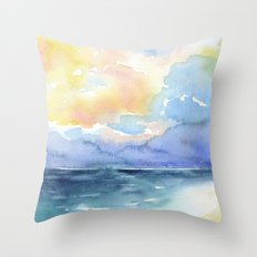 Colorful Abstract Ocean Throw Pillow