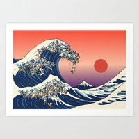 huebucket Art Prints featuring The Great Wave of Pug   by Huebucket