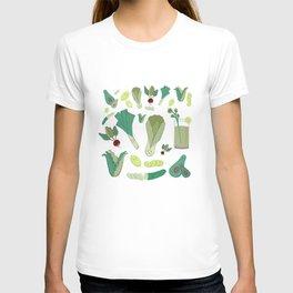 Green Kawaii Vegetables T-shirt