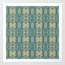 Copper Turquoise Southwestern Kaleidoscope Pattern Art Print