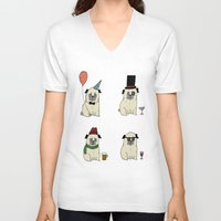pugs V-neck T-shirts featuring Party Pugs by Adam Lindfors