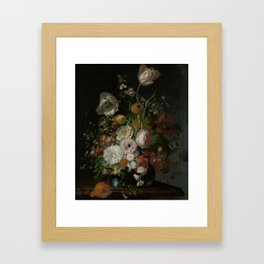 Rachel Ruysch - Still life with flowers in a glass vase (1690-1720) Framed Art Print