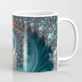 Feathery Flow - Teal and Taupe Fractal Art Coffee Mug