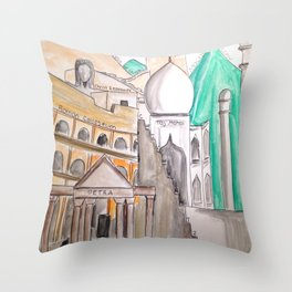 Seven Wonders Of The World Throw Pillow