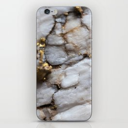 White Quartz with Gold Veining iPhone Skin