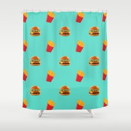 Burgers with fries Shower Curtain