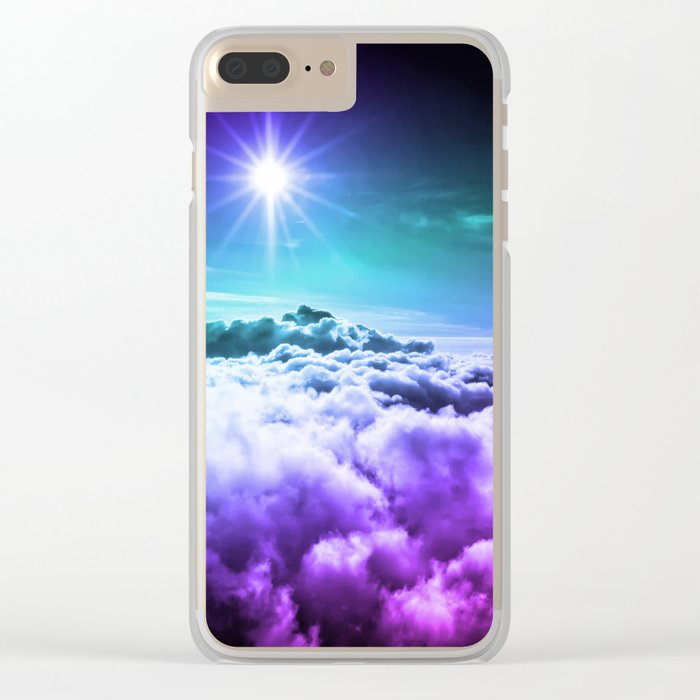 Cool Tone Ombre Clouds Clear iPhone Case