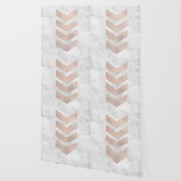 Rose gold chevrons on marble Wallpaper