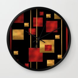 Red and Gold Foil Blocks Wall Clock