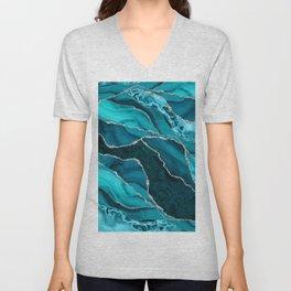 Ocean Waves Marble Teal Unisex V-Neck