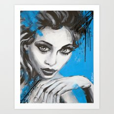 Portrait w/ blue Art Print
