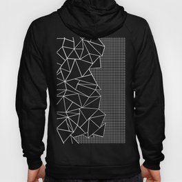 Abstract Grid Outline White on Black on Side Hoody