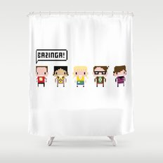 The Big Bang Theory Pixel Characters Shower Curtain