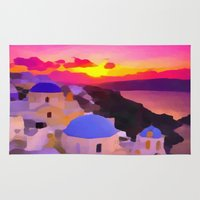greece Area & Throw Rugs featuring Greece  by Xchange Art Studio