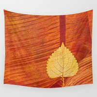lonely Wall Tapestries featuring Lonely Leaf by Klara Acel