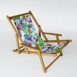 Rainbow Plumeria Pattern Sling Chair