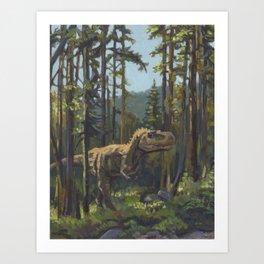 HUNT, T.rex dinosaur painting by Frank-Joseph Art Print