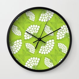 African Floral Motif on Green Wall Clock