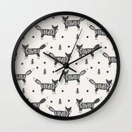 Foxes scandinavian minimal winter christmas neutral pattern by andrea lauren Wall Clock