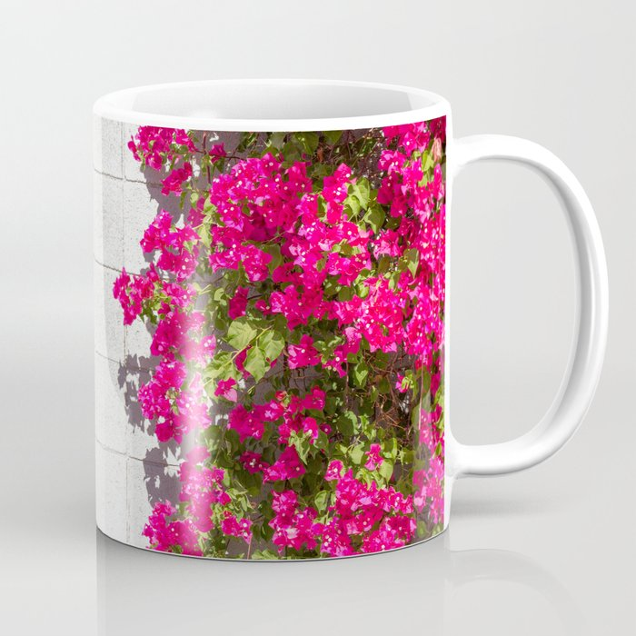 Bougainvilleas and White Brick Wall in Palm Springs, California Coffee Mug