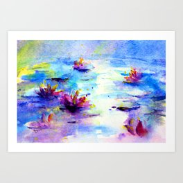 Waterlily in the Moonlight Art Print