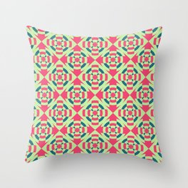 Simple geometric stripe flower red and green Throw Pillow