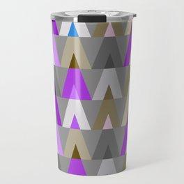 Geometric Triangles | purple grey Travel Mug