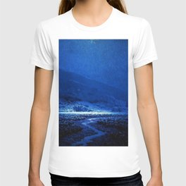 Twilight Blue Moon below the Mountains & Enchanted Valley landscape painting by Granville Redmond T-shirt
