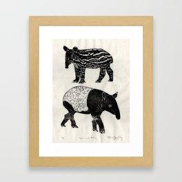 Malayan Tapir & Baby Framed Art Print