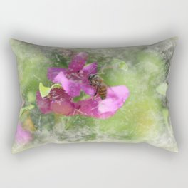 Bee on Texas Ranger Blossom Antiqued and Aged Rectangular Pillow
