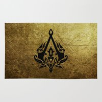 assassins creed Area & Throw Rugs featuring Creed Assassins Grunge Logo by DavinciArt