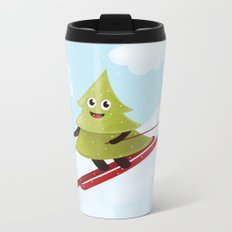 Happy Pine Tree on Ski Metal Travel Mug