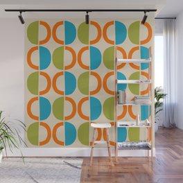 Mid Century Modern Half Circle Pattern 549 Beige Orange Cyan and Olive Wall Mural