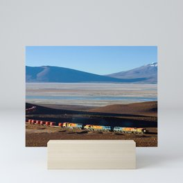 A train hauling ore from San Cristobal mine, Bolivia color photography - photograph by David Gubler Mini Art Print