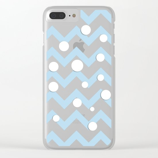 Light blue white Chevron pattern with Snow Circles Clear iPhone Case