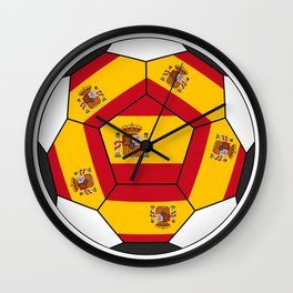 Soccer ball with Spanish flag Wall Clock