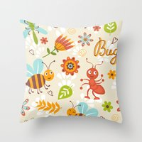 bugs Throw Pillows featuring Bugs by olillia