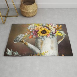 Farm Sunflowers in Watering Can Rug