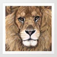 Aslan the Lion, Pastel Portrait Art Print