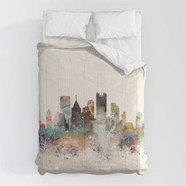 pittsburgh city skyline Comforters