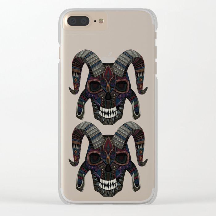 demon skull charcoal Clear iPhone Case