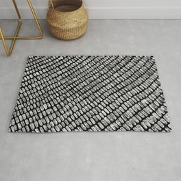 Black & White Pencil Charcoal Lined Spotted Texture Diagonal Minimal Minimalism Design Pattern Rug