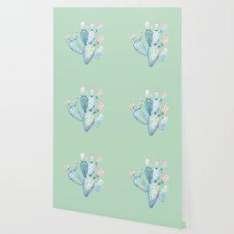 Rose Desert Cactus Light Mint Green by Nature Magick Wallpaper