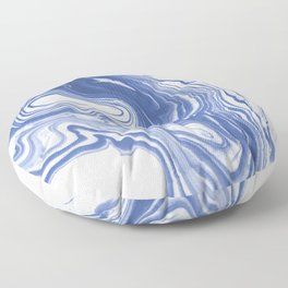 Iwao - indigo blue monochromatic spilled ink japanese paper marble trendy hipster minimal painting Floor Pillow