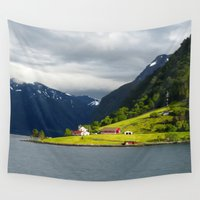 norway Wall Tapestries featuring Somewhere in Norway  by Ellyne