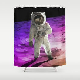 Astronaut Low Poly Shower Curtain