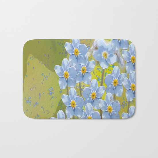 Forget-me-not flowers - watercolor art on green background Bath Mat