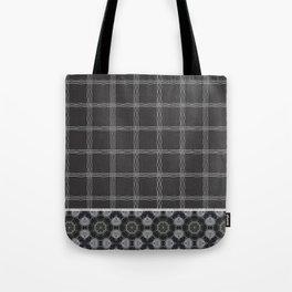 Wavy Plaid Pattern Bla and Grey Mandala Tile Tote Bag